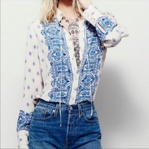 Free People Pink & Blue Bohemian Button Down Large